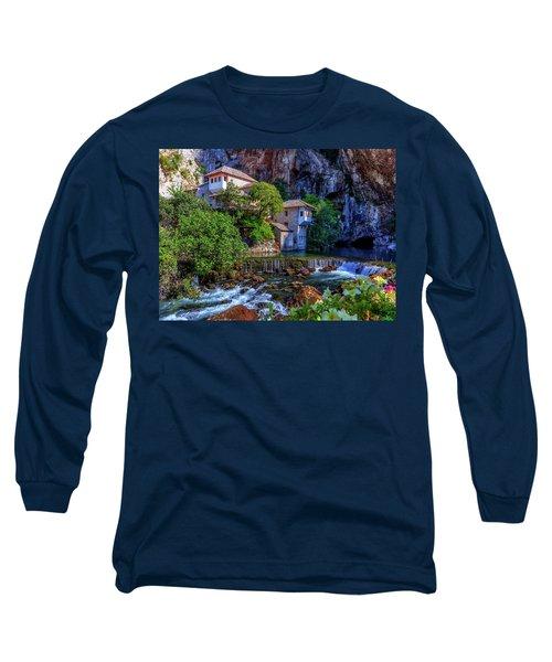 Small Village Blagaj On Buna Waterfall, Bosnia And Herzegovina Long Sleeve T-Shirt by Elenarts - Elena Duvernay photo