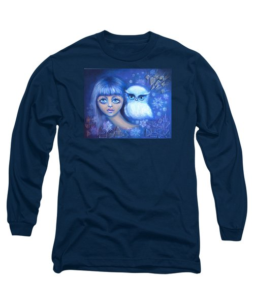 Long Sleeve T-Shirt featuring the painting Snow Children by Agata Lindquist