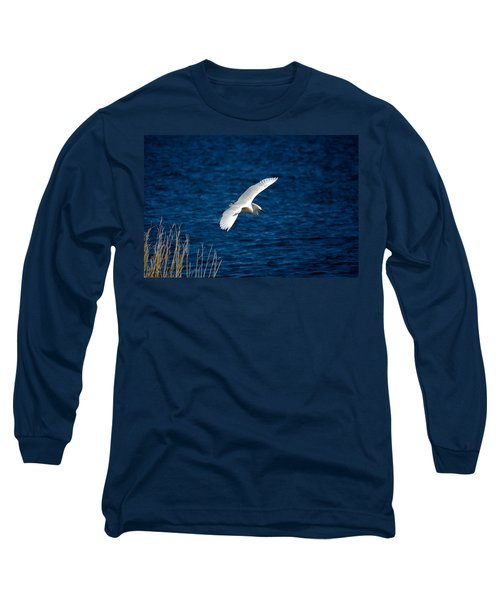 Soaring Snowy Egret  Long Sleeve T-Shirt by DigiArt Diaries by Vicky B Fuller