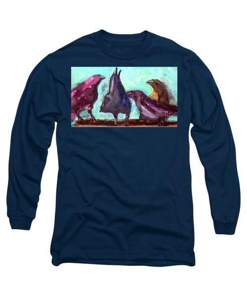Long Sleeve T-Shirt featuring the painting Socializing by Ron Stephens