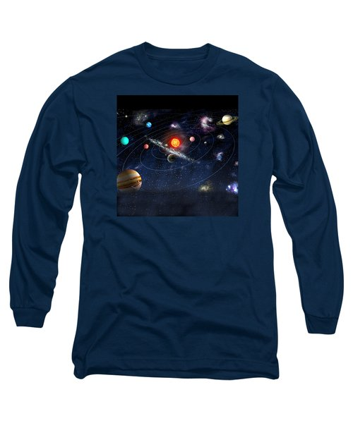 Long Sleeve T-Shirt featuring the digital art Solar System by Gina Dsgn