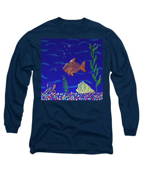 Long Sleeve T-Shirt featuring the painting Something Fishy by Kevin Caudill