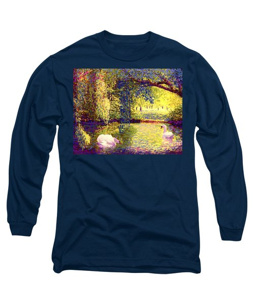 Long Sleeve T-Shirt featuring the painting Swans, Soul Mates by Jane Small