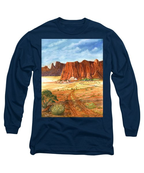 Long Sleeve T-Shirt featuring the painting Southwest Red Rock Ranch by Marilyn Smith