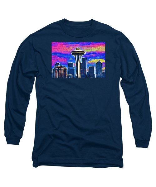 Space Needle Colorful Sky Long Sleeve T-Shirt by Kirt Tisdale
