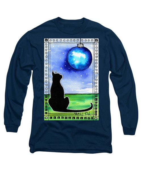 Sparkling Blue Bauble - Christmas Cat Long Sleeve T-Shirt
