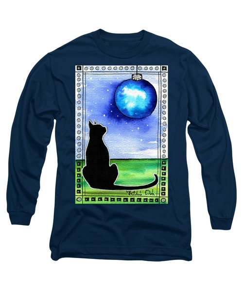 Sparkling Blue Bauble - Christmas Cat Long Sleeve T-Shirt