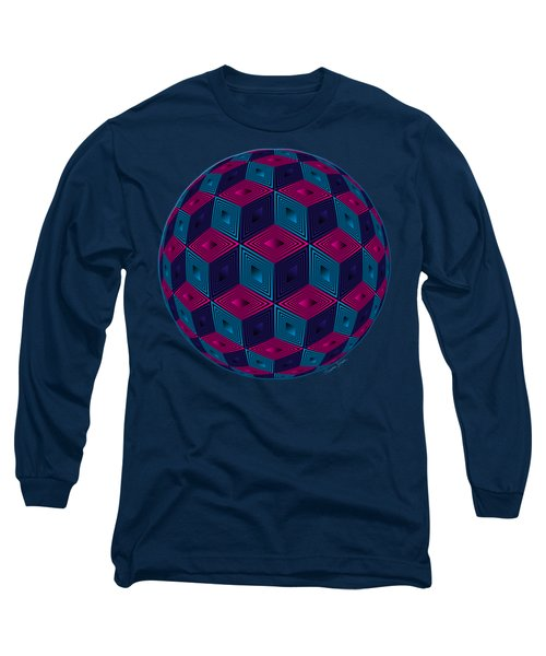 Spherized Pink Purple Blue And Black Hexa Long Sleeve T-Shirt