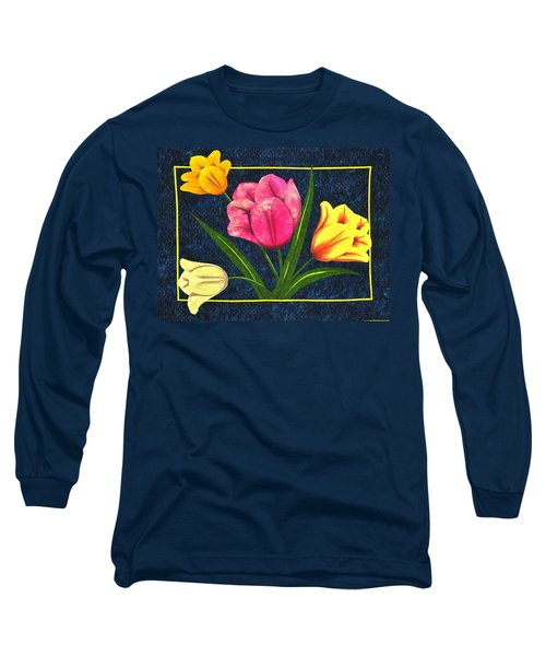 Long Sleeve T-Shirt featuring the tapestry - textile Splash Of Tulips by Jo Baner