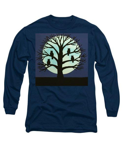Spooky Owl Tree Long Sleeve T-Shirt