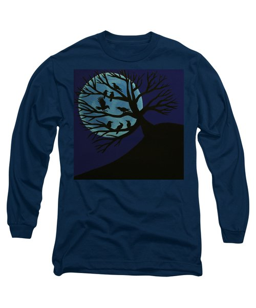 Spooky Raven Tree Long Sleeve T-Shirt