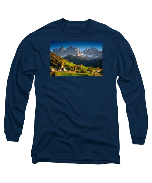 St. Magdalena Alpine Village In Autumn Long Sleeve T-Shirt by IPics Photography