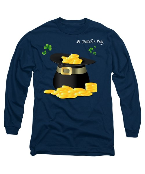St. Patrick's Day Gold Coins In Hat Long Sleeve T-Shirt by Serena King