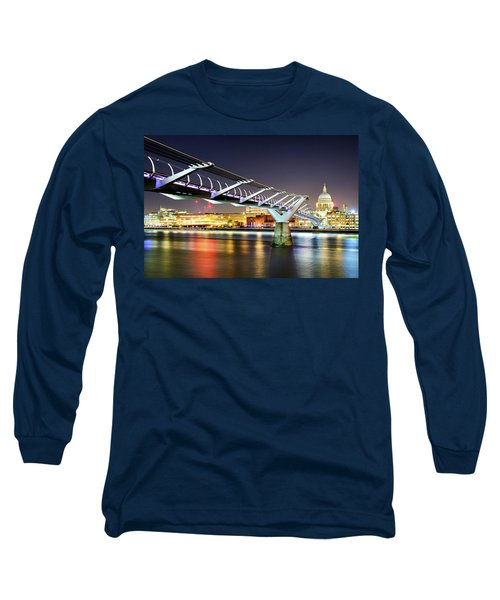 St Paul's Cathedral During Night From The Millennium Bridge Over River Thames, London, United Kingdom. Long Sleeve T-Shirt