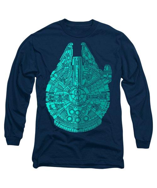 Star Wars Art - Millennium Falcon - Blue 02 Long Sleeve T-Shirt by Studio Grafiikka