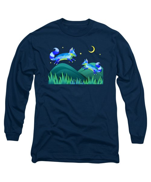 Starlit Foxes Long Sleeve T-Shirt by Little Bunny Sunshine