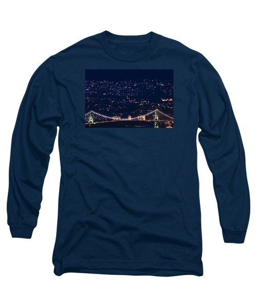 Long Sleeve T-Shirt featuring the photograph Starry Lions Gate Bridge - Mdxxxii By Amyn Nasser by Amyn Nasser