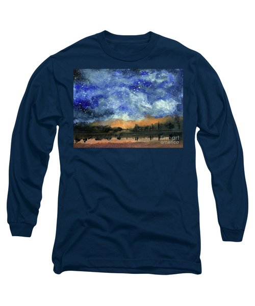 Starry Night Across Our Lake Long Sleeve T-Shirt by Randy Sprout