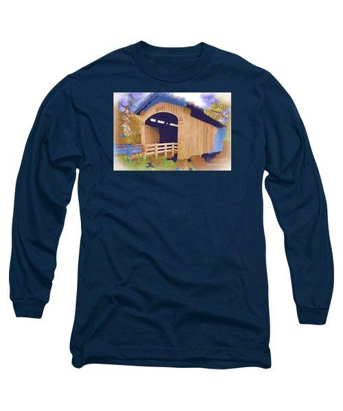 Stewart Bridge In Watercolor Long Sleeve T-Shirt by Kirt Tisdale