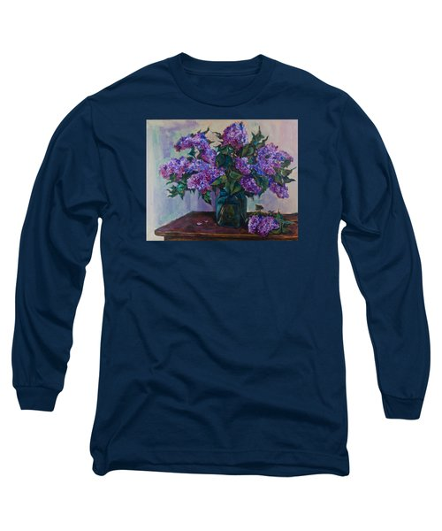 Still Life With Lilac  Long Sleeve T-Shirt by Maxim Komissarchik