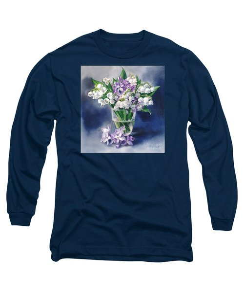 Still Life With Lilacs And Lilies Of The Valley Long Sleeve T-Shirt by Sergey Lukashin