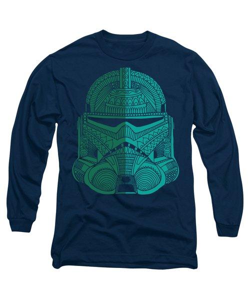 Stormtrooper Helmet - Star Wars Art - Blue Green Long Sleeve T-Shirt