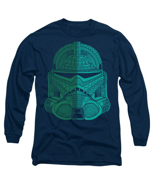Stormtrooper Helmet - Star Wars Art - Blue Green Long Sleeve T-Shirt