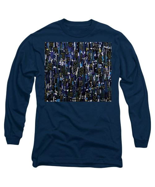 Long Sleeve T-Shirt featuring the painting Stormy Night In The City by Teresa Wing