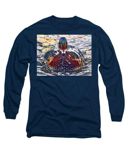 Straight Ahead Wood Duck Long Sleeve T-Shirt by Jean Noren