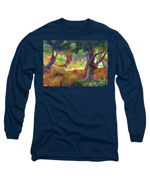 Long Sleeve T-Shirt featuring the painting Tranquil Grove Of Poppies And Olive Trees by Jane Small