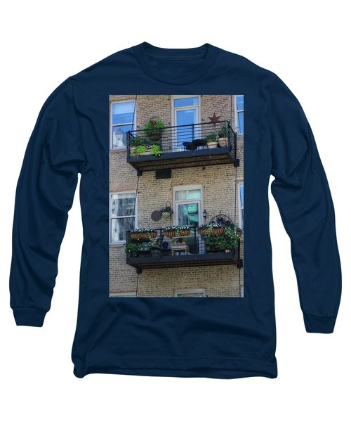 Summer Balconies In Chicago Illinois Long Sleeve T-Shirt