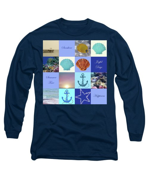 Summer Beach House Collage Long Sleeve T-Shirt
