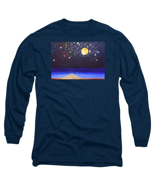 Long Sleeve T-Shirt featuring the painting Sun Moon And Stars by Donna Blossom
