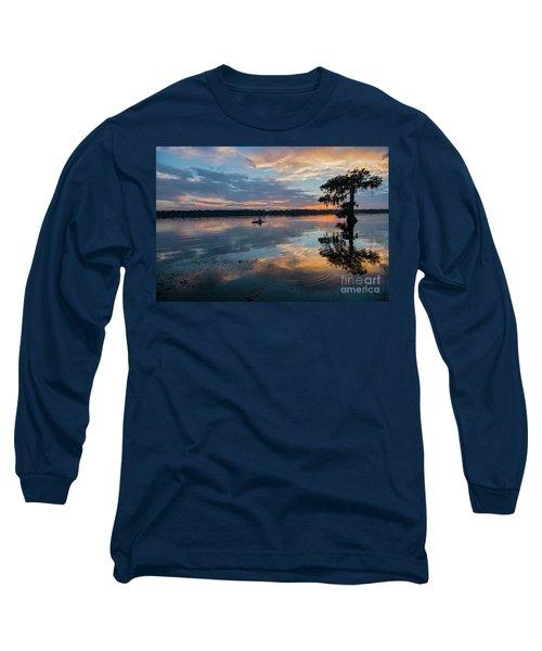 Long Sleeve T-Shirt featuring the photograph Sundown Kayaking At Lake Martin Louisiana by Bonnie Barry