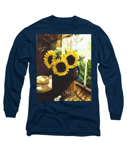 Long Sleeve T-Shirt featuring the painting Sunflower Sill by Renate Nadi Wesley