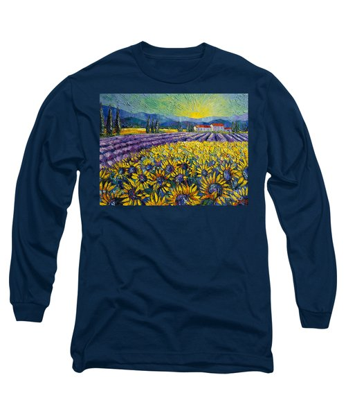 Sunflowers And Lavender Field - The Colors Of Provence Modern Impressionist Palette Knife Painting Long Sleeve T-Shirt