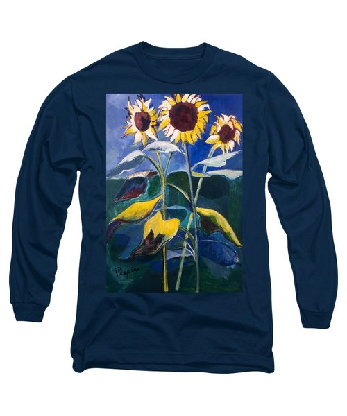 Long Sleeve T-Shirt featuring the painting Sunflowers Standing Tall by Betty Pieper