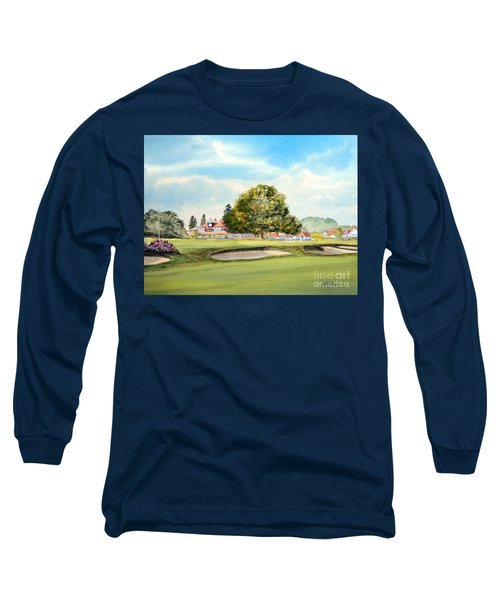 Long Sleeve T-Shirt featuring the painting Sunningdale Golf Course 18th Green by Bill Holkham