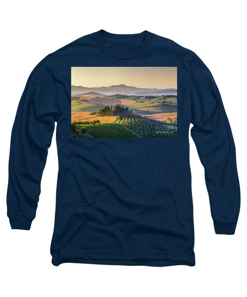 Sunrise In Tuscany Long Sleeve T-Shirt by JR Photography