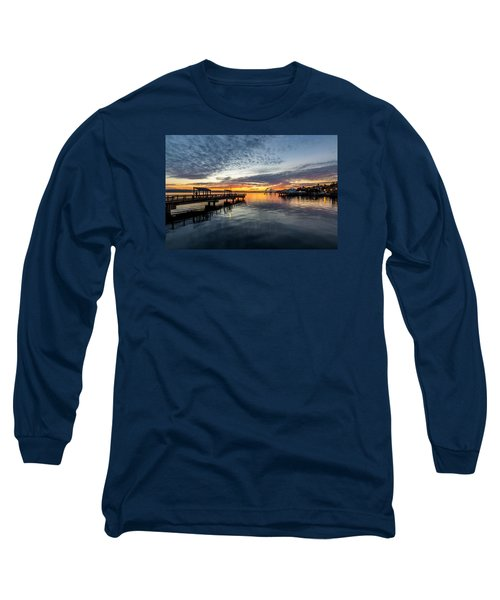 Long Sleeve T-Shirt featuring the photograph Sunrise Less Davice Pier by Rob Green