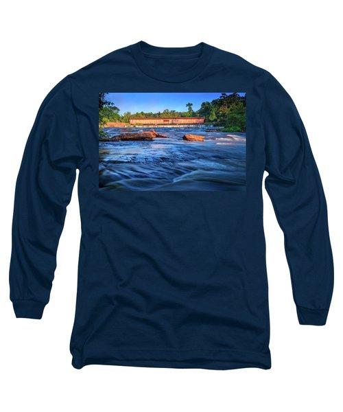 Sunrise On Watson Mill Bridge Long Sleeve T-Shirt