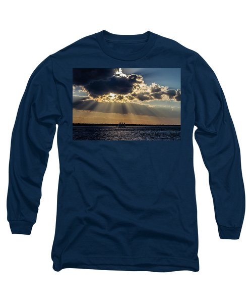 Sunset And A Three Masted Schooner Long Sleeve T-Shirt by Menachem Ganon