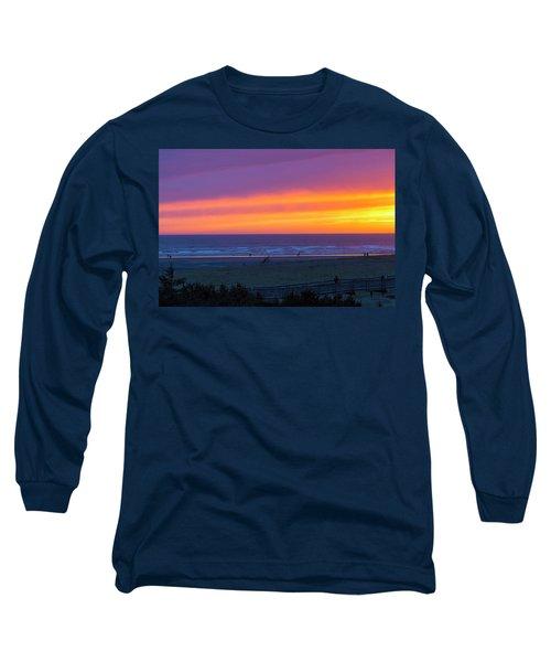 Sunset At Long Beach Washington Long Sleeve T-Shirt