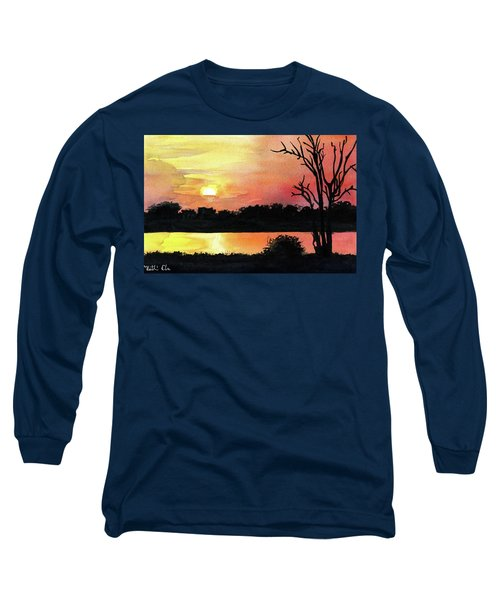 Long Sleeve T-Shirt featuring the painting Sunset At Shire River In Malawi by Dora Hathazi Mendes