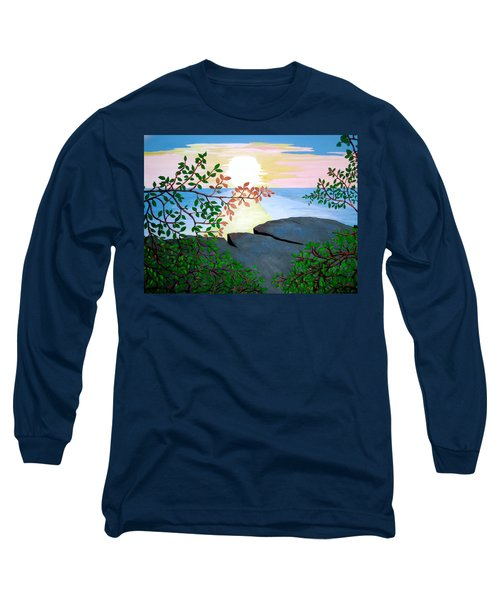 Long Sleeve T-Shirt featuring the painting Sunset In Jamaica by Stephanie Moore