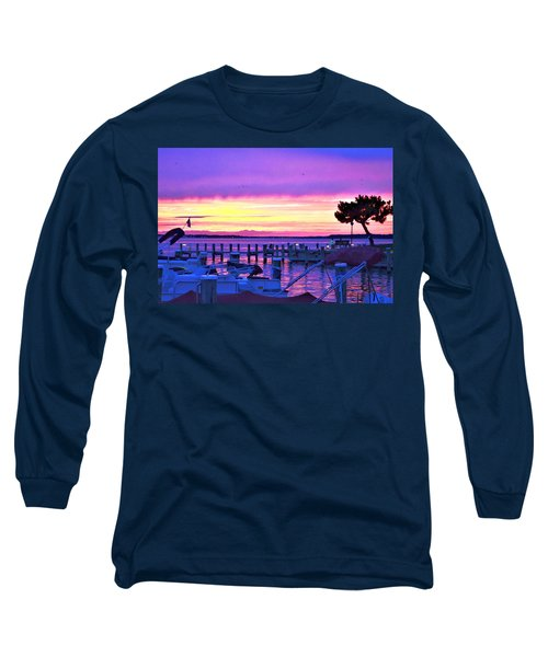 Long Sleeve T-Shirt featuring the photograph Sunset On The Docks by Kim Bemis