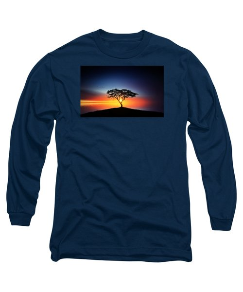 Sunset On The Tree Long Sleeve T-Shirt by Bess Hamiti