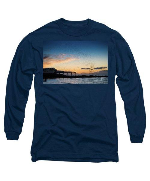 Sunset Over Aberystwyth Pier Long Sleeve T-Shirt