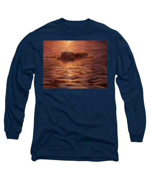 Long Sleeve T-Shirt featuring the painting Sunset Snuggle - Sea Otters Floating With Kelp At Dusk by Karen Whitworth