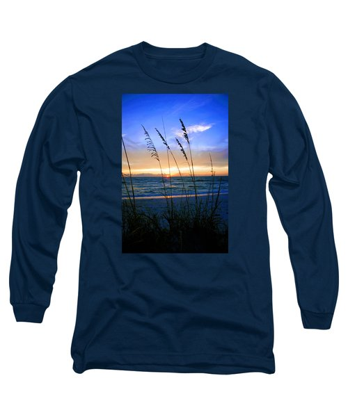 Long Sleeve T-Shirt featuring the photograph Sunset Thru The Sea Oats At Delnor Wiggins by Robb Stan